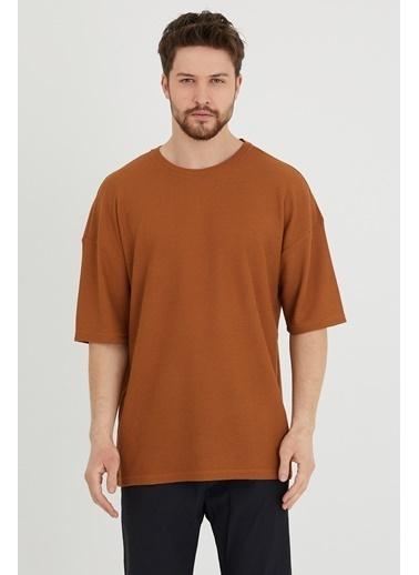 XHAN Taba Waffle Kumaş Salaş T-Shirt 1Kxe1-44632-30 Taba